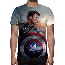 Camisa, Camiseta Capitão América Mod 02 - Estampa Total