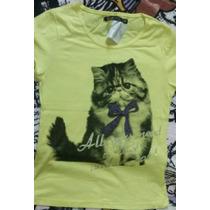 Camiseta Feminina Com Estampa De Gato