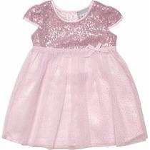 Vestido Infantil Em Tecido Com Paetês Rosa Marisol