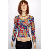 Blusa Top Crop Croped Malha Manga Comprida