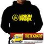 Blusa Moletom Linkin Park Capuz Bolso Bandas Rock Punk Link