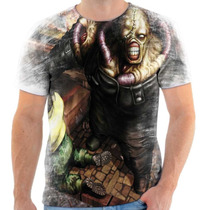 Camiseta - Camisa Nemesis Resident Evil Zumbi Game Jogo