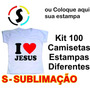 100 Peça Camiseta Camisa Personalizada Estampa Frente Sublim