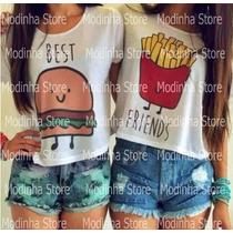 Tshirt Feminina Estampa Best Friends Hambúrguer Fritas 2015