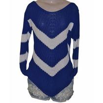 Blusa Tricot Bico Azul Royal E Branco