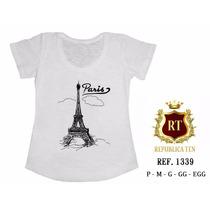 T-shirt Camiseta Paris Torre Eiffel Personalizada Feminina