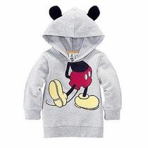 Camiseta Infantil Manga Longa Capuz Mickey