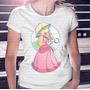 Camiseta Manga Curta Menina Princesa Mario