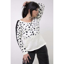 Blusa De Tricot Estampa Onça Animal Print Feminina Exclusiva