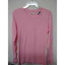 Camiseta Blusa Listrada Sweater Hollister Feminina Nova Rosa