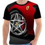 Camiseta - Camisa Carro Ferrari Tunado Roda Frente