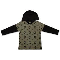 Camiseta Infantil Menino Manga Longa C/capuz Caveira Johnn