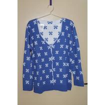 Casaco Casaquinho De Tricot - Lã - Malha - Azul Lacinho