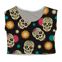 Top Cropped Mini Blusa Personalizado Caveiras Mexicanas