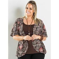 Blusa Plus Size Extra Grande Sobreposta Estampada Marrom