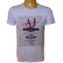 Camiseta Armani Camisa Gola Careca Branca Original