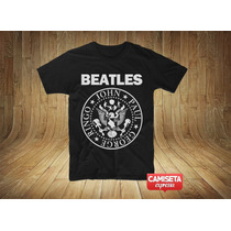 Camisa Masculina Beatles Ramones John Paul George Ringo Logo