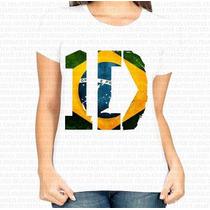 Camiseta Basica Feminina One Direction 1d Bandeira Do Brasil