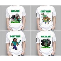 Camiseta Infantil Personalizada Minecraft Creeper Enderman