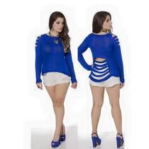Blusa Tricot Rasgada/gilhetada Em Tiras Modelo 2016