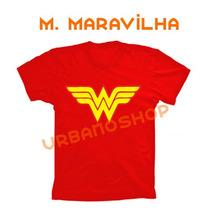 Camiseta Mulher Maravilha Super Heroi Vermelha 100% Algodão