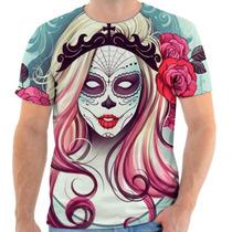Camiseta Camisa Caveira Mexicana Mulher Flor Festa Estampada