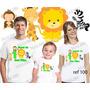 Camiseta Safari Leão Selva Aniversario Festa Kit Com 3 Uni