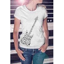 Presente! Camiseta Feminina Guitarra Notas Musicais