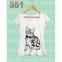 Camiseta Blusa Tshirt Feminina Estampa Gato Cat Animal Fofo