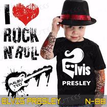 Camisetas Elvis Presley Infantil Preta Rock Roll Clássicos
