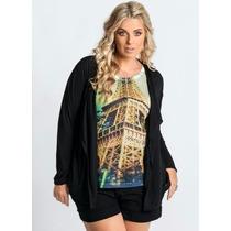 Blusa Preta Plus Size - Feminino ( Casaquinho )