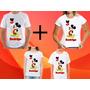Kit 4 Camisetas Personalizada Tema Mickey Aniversario