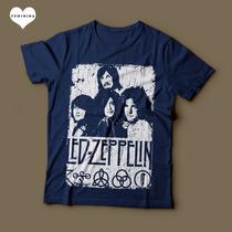Camiseta Led Zeppelin Com Símbolos E Arte Feminina