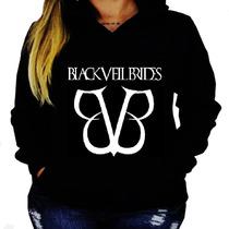 Blusa Moletom Black Veil Brides Unissex Capuz Bolso Banda