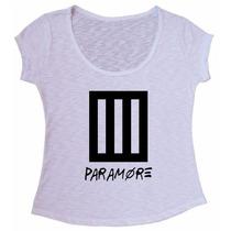 Blusa Tecido Flame Paramore Rock Camiseta Baby Look
