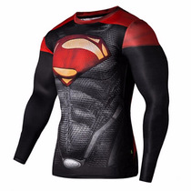 Camiseta Rash Guard Superman Fitness Jiu Jitsu Mma