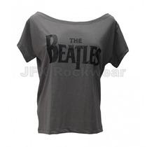 Camisa Feminina Gola Canoa Rock Banda Beatles Logo Cinza