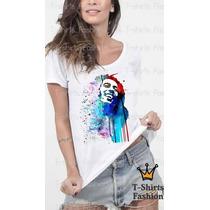 Camiseta Feminina Bob Marley Abstrato Personalizada