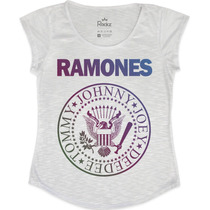 Blusa - T Shirt Feminina Ramones Colorida - Rockz Club