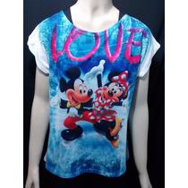 Blusa Feminina Fitness Com Estampas Diversas Mickey Minnie