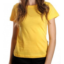 Camiseta Feminina Babylook 100% Algodão Lisa Amarela