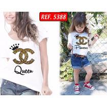 Camiseta Rainha E Princesa Mãe E Filha T-shirt Com 2