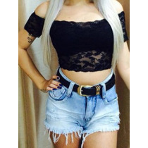 Top Cropped Ciganinha De Renda Panicat Juju