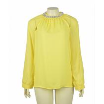 Blusa Amarela Pedrarias Em Cristal Na Gola