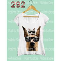 Camiseta Blusa Tshirt Feminina Estampa Cão Óculos Gato Look