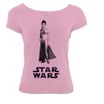 Camiseta Star Wars Aliançca Rebelde Leia Canoa Rosa 01