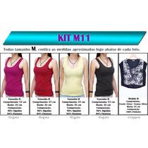 Kit 05 T-shirts Femininas - Camiseta Blusa Blusinha Atacado