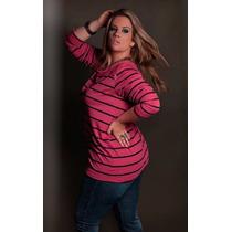 Blusas Feminina Plus Size Estacão Listras Gordinha Casual