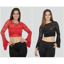 Blusa Cropped Top Renda Manga Boca Larga Sino Flare