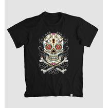 Camiseta Caveira Mexicana Flores E Cores - Exclusiva Linda